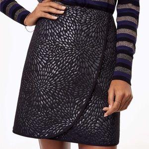 NWT LOFT Shimmer Splash Wrap Skirt Metallic Black